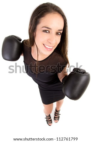 Business woman boxing, concept image of beautiful strong
