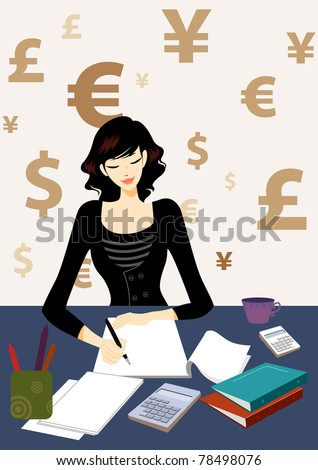 Business woman calculating bill document in office, maybe she is an accountant, with dollar, euro, RMB, pounds as background