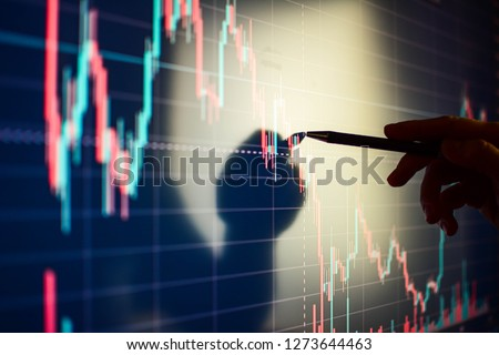 Business woman checking stock market data. Analysis economy data on forex, stock, indices futures, commodities, index earn graph. - Image