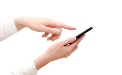 business woman clicks on the smartphone screen. isolated white background