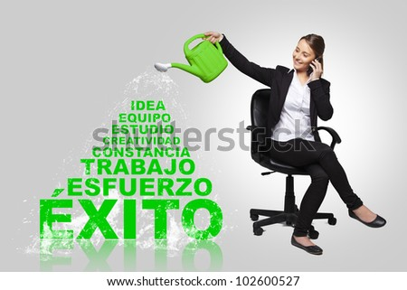 business woman - concept of business success with spanish words