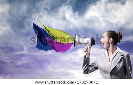 business woman cooks shouting into a megaphone, splash of color paint megaphone