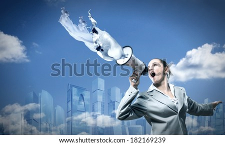 business woman cooks shouting into a megaphone, splashes of white paint from a megaphone