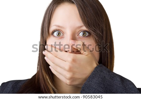 Business woman covers her face with his hand, isolated on white background
