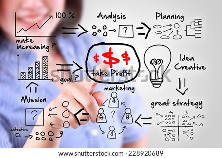 business woman designed business finance to success