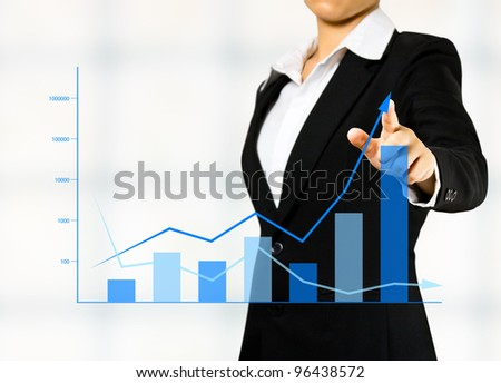 business woman drawing a chart