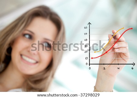 Business woman drawing a graph showing growth