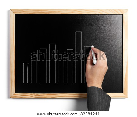 Business woman drawing charts on a black board