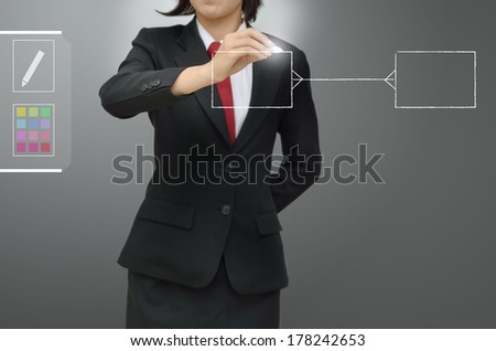 business woman drawing entity relation diagram (ERD) and Database design