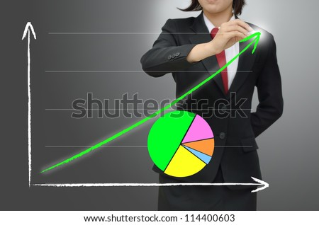 Business woman drawing growing green graph