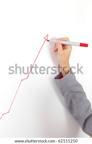 business woman draws a graph