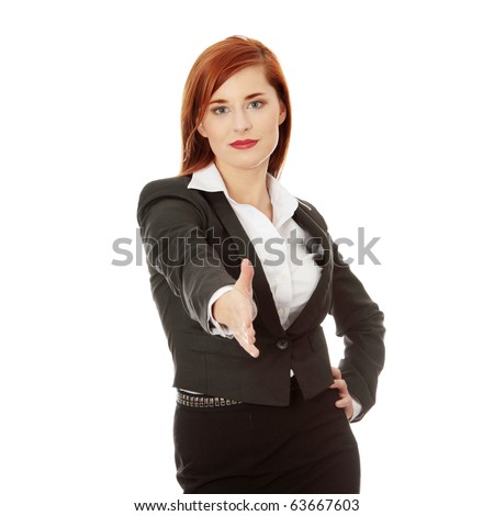 Business woman extend hand over white background