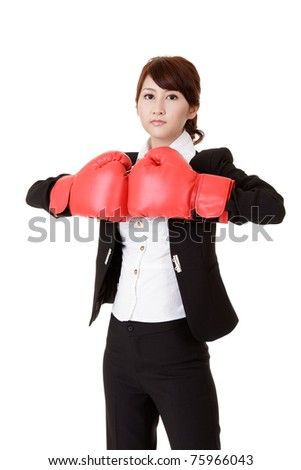 Business woman fighting, half length closeup portrait on white background.