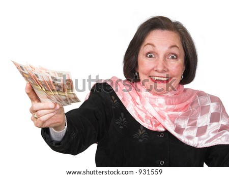 business woman full of joy after winning some money