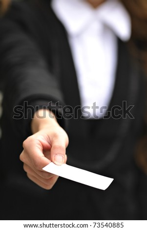 business woman give card