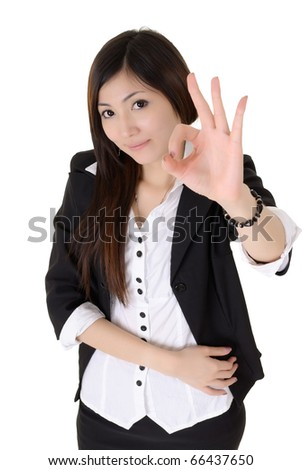 Business woman give you excellent sign over white background.