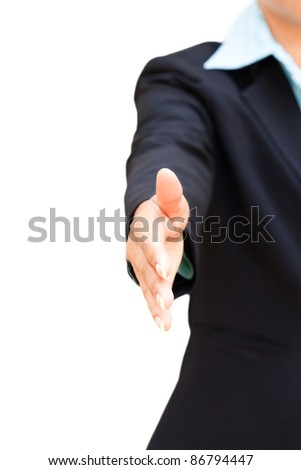 Business Woman Giving Handshake Isolated on White