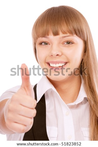 Business woman giving thumbs-up sign, isolated on white background.