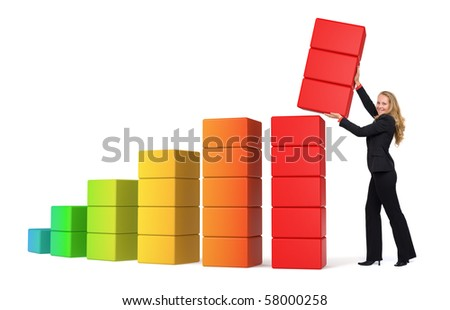 Business woman growing success shown in a 3d graph isolated - stock photo