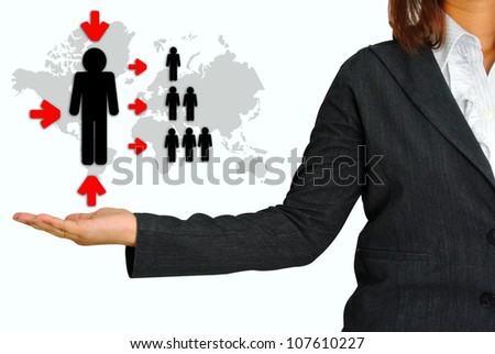 Business Woman Hand Hold Key Person for Business