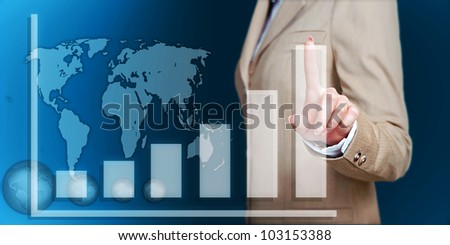 business woman hand touch virtual graph,chart, diagram over blue background