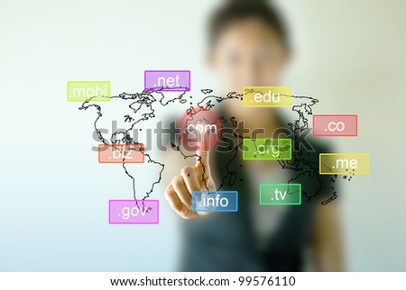 Business woman hand  touching on domain name icon - stock photo