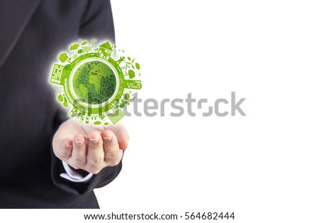 Business woman hands holding world ecology design on white background #564682444
