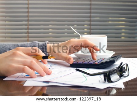business woman hands in office