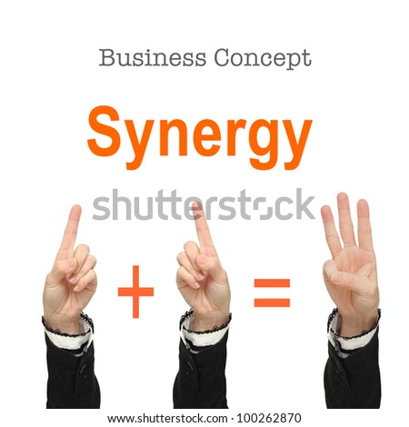 Business woman hands show -  synergy concept