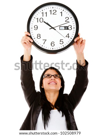 Business woman hanging a clock �¢?? isolated over a white background