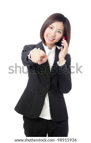 Business woman Happy Speaking Mobile phone isolated on white background, model is a asian beauty