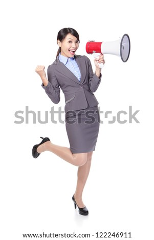 Business woman happy with a megaphone and hand show win gesture in full length isolated on white background, model is a asian beauty