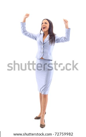 business woman has her hands up as she prays to God for the weekend or holiday