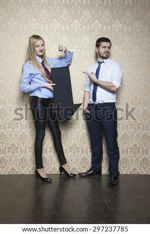 business woman has to choose alternate