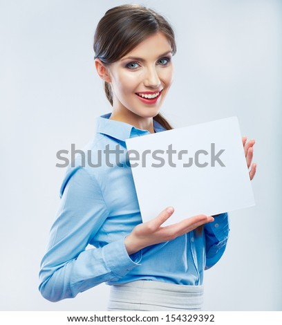 Business woman hold banner,    portrait. Female business model.