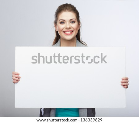 Business woman hold blank card. Smiling business woman. #136339829