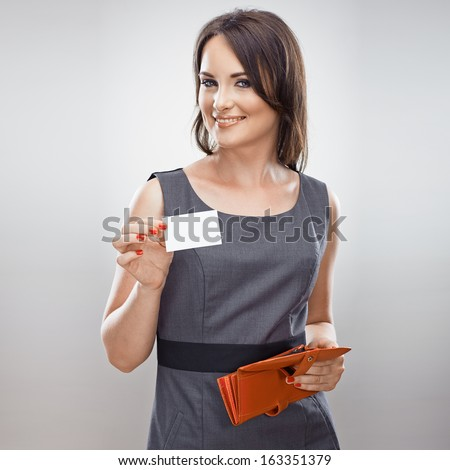 Business woman hold credit card from purse. Isolated portrait