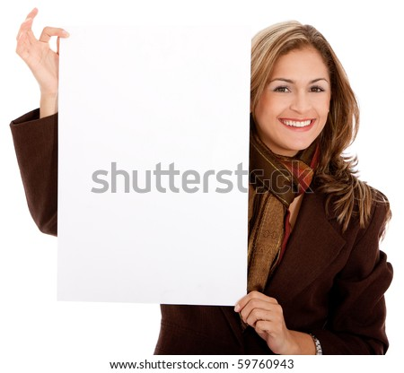 Business woman holding a banner - isolated over a white background, - stock photo