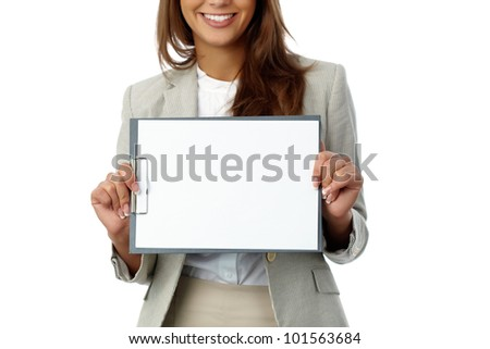 Business woman holding a blank document