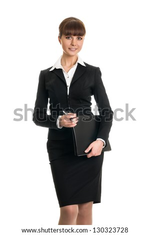 business woman holding a folder - stock photo