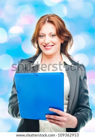 business woman holding a portfolio