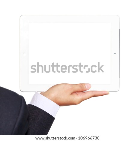 Business woman holding a touch-pad pc  (no face) on white background