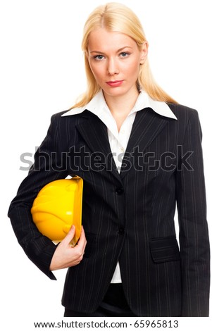Business woman holding an helmet, isolated