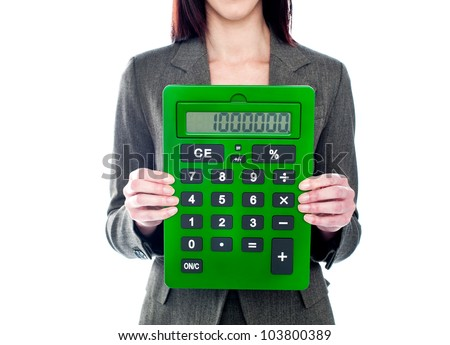 Business woman holding calculator. Focus on calculator. All on white background