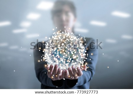Business woman holding circle global network connection and data exchanges worldwide on work place, business network community and technology concept, Elements of this image furnished by NASA.  #773927773