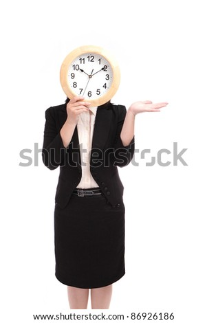 business woman holding clock, concept for time need on schedule