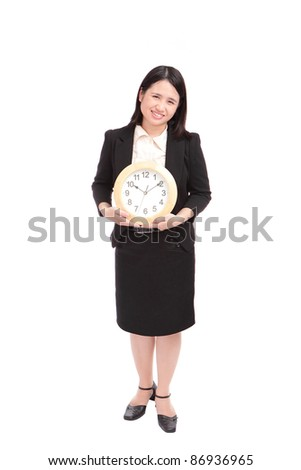 business woman holding clock, concept for time need on schedule - stock photo