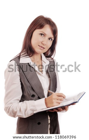 Business woman holding diary and pen, isolated on white background