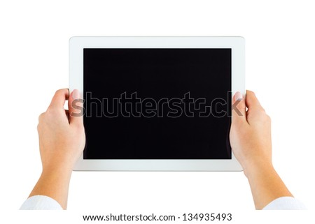Business woman holding digital tablet computer with blank screen in hands - stock photo