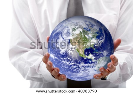 Business woman holding globe isolated over a white background
